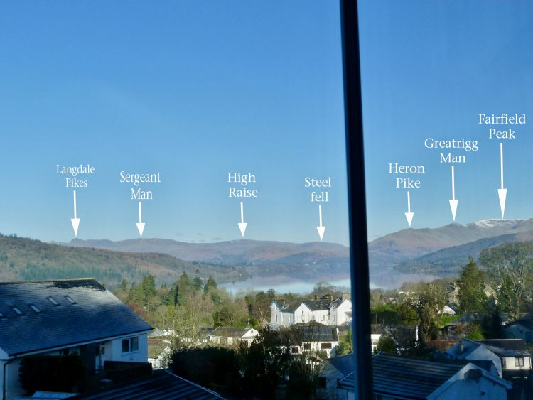 Mountain Fell Peaks seen from Blenheim Lodge B&B | Bowness on Windermere | Cumbria Lake District