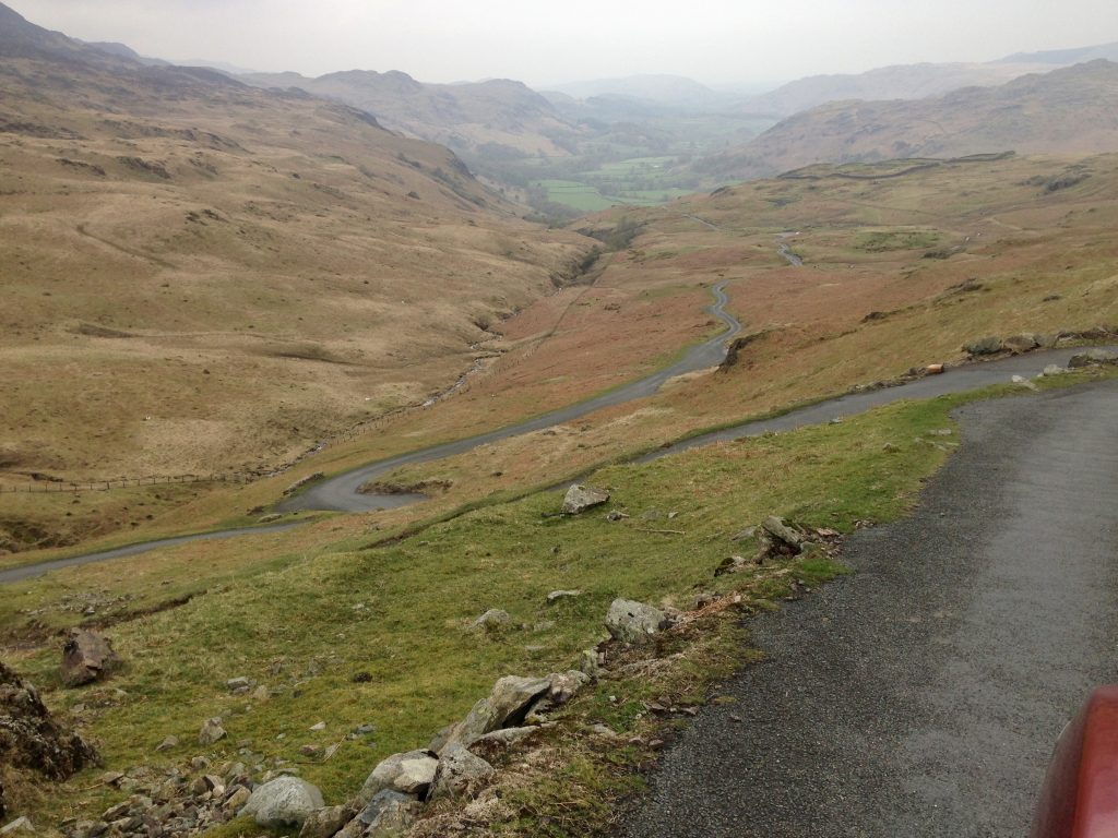 Tour and drive windy roads at hardknott pass on a lazy day getaway